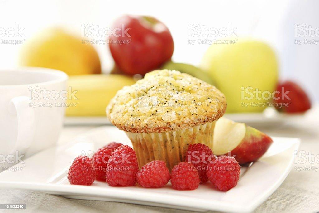 Breakfast -lemon  poppy seed muffin stock photo