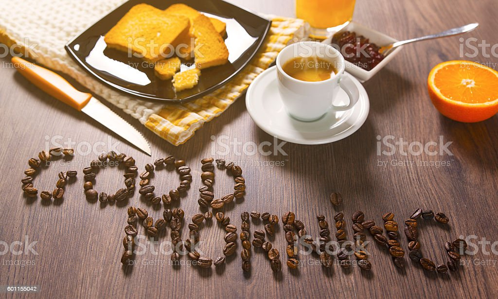 Breakfast lovers served on wooden table stock photo