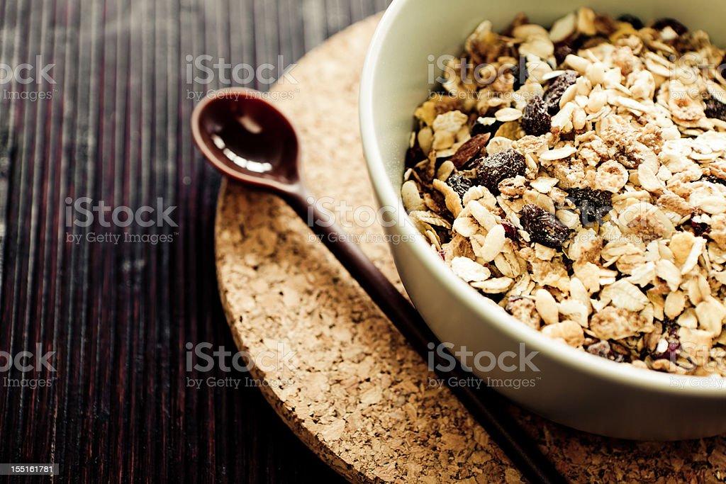 Breakfast muesli with corkscrew coaster stock photo