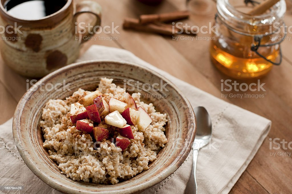 Breakfast of Oatmeal and Coffee stock photo