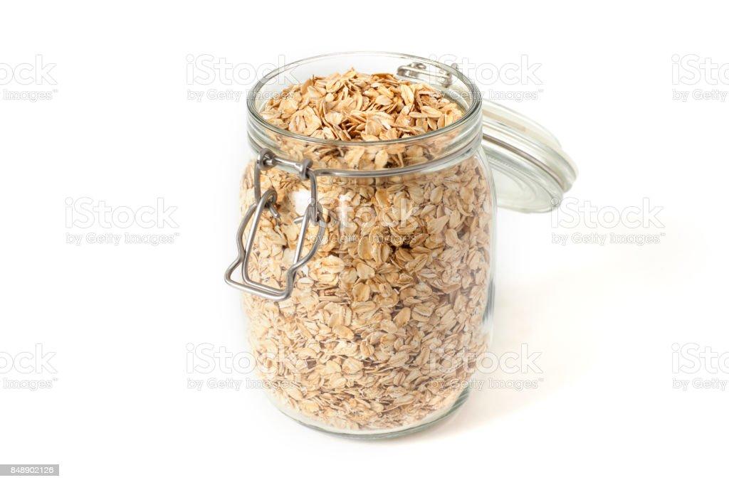 Breakfast of oatmeal in a jar stock photo