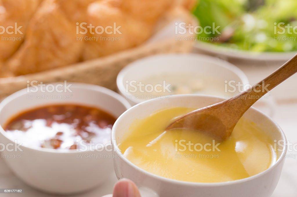 Breakfast of soup stock photo