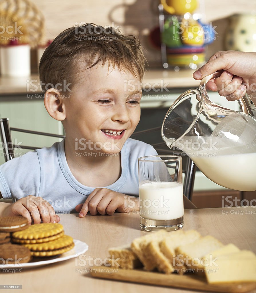 Breakfast of the little boy royalty-free stock photo