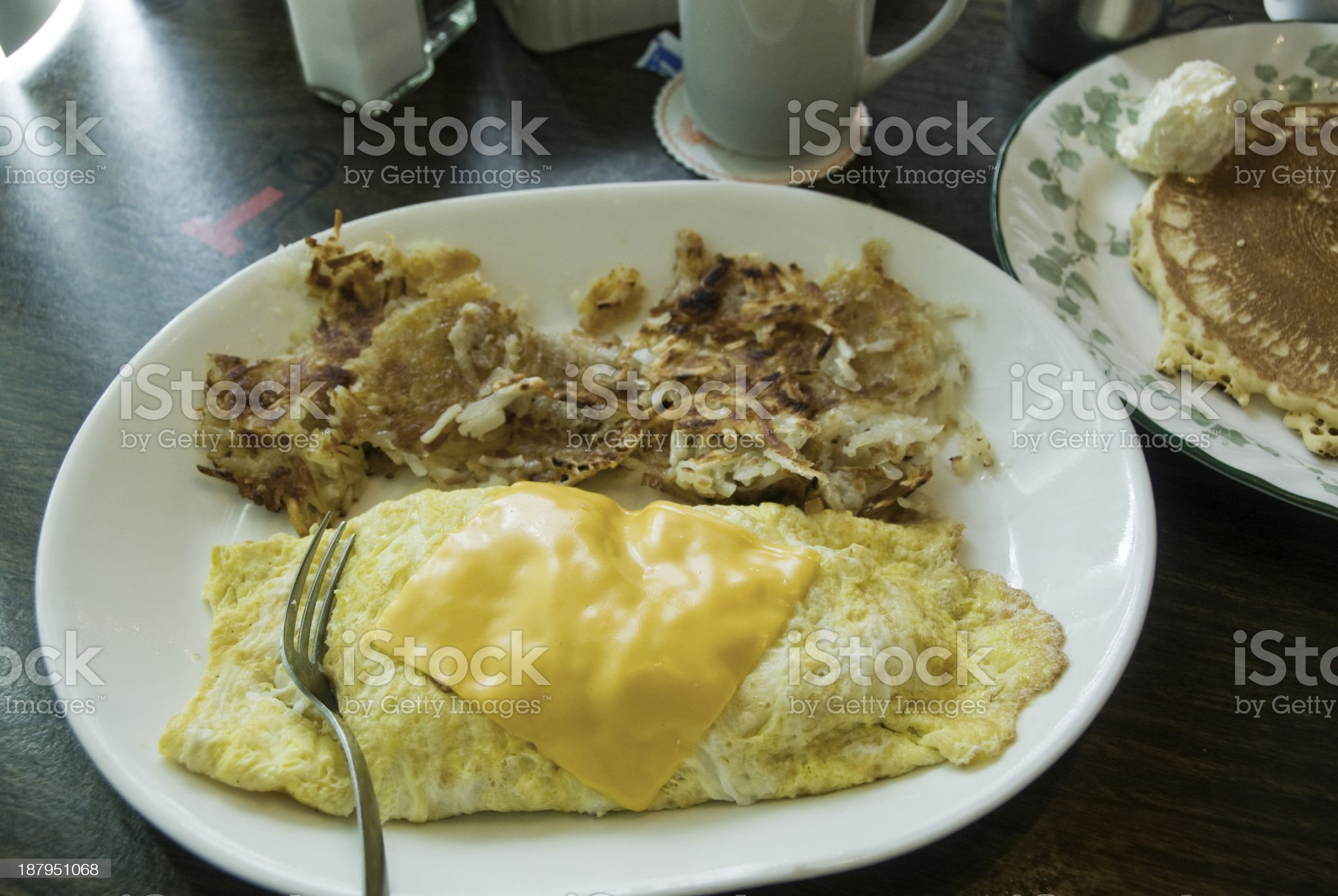 Breakfast Omelette and Pancake royalty-free stock photo