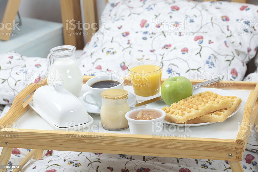 Breakfast on a bed royalty-free stock photo
