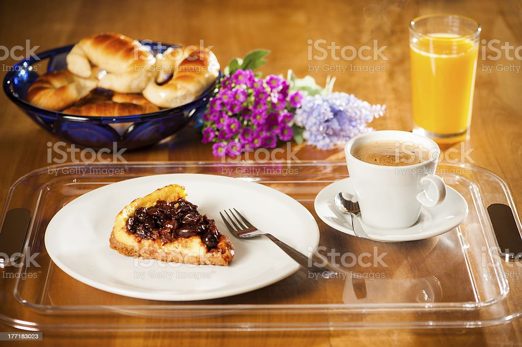 Breakfast on a tray. royalty-free stock photo