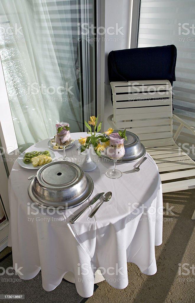 Breakfast on Balcony of Cruise Ship royalty-free stock photo