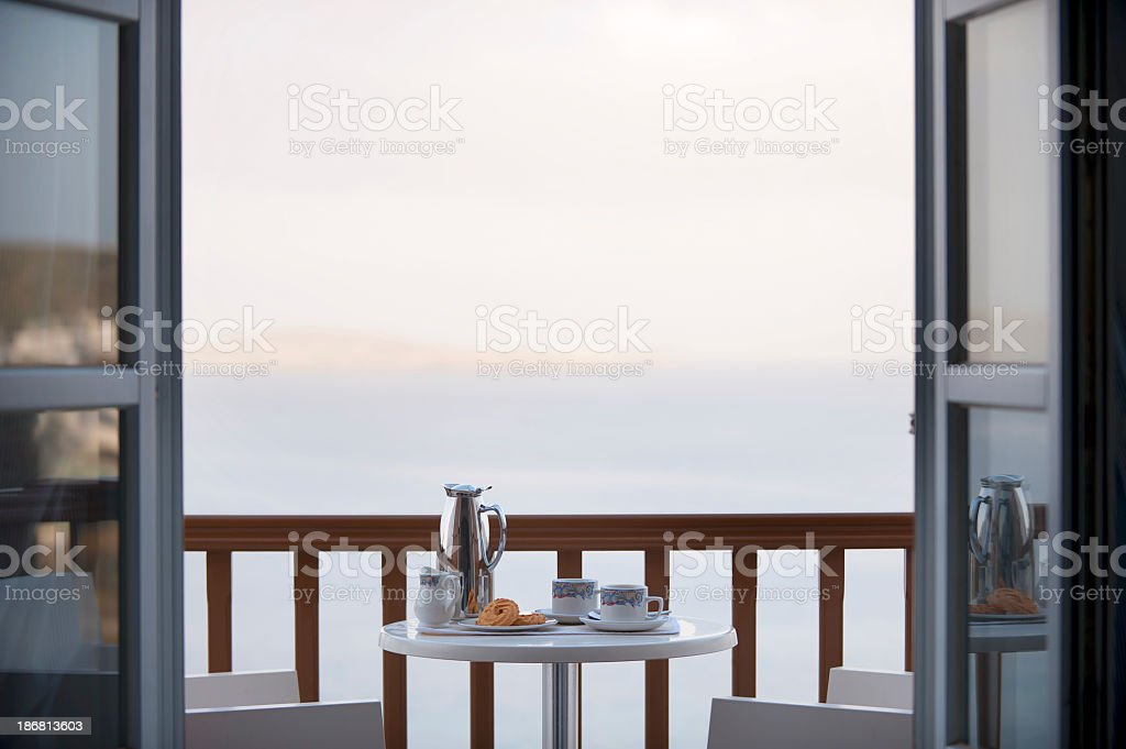 Breakfast on the balcony royalty-free stock photo