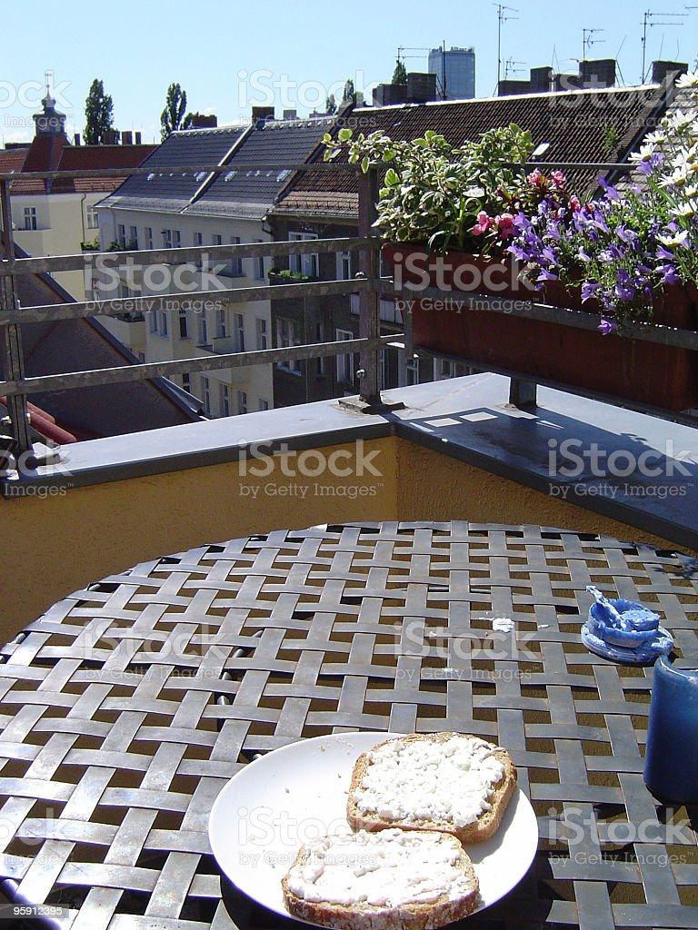 Breakfast on the balcony royalty-free stock photo