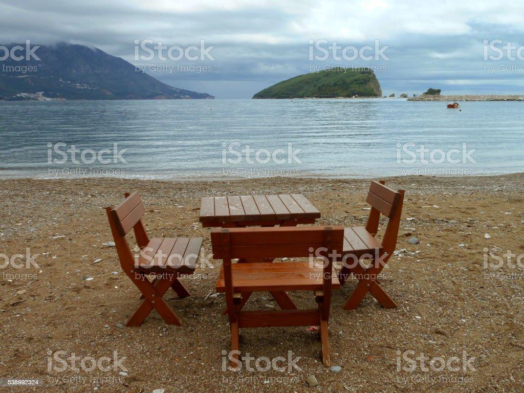 Breakfast on the beach stock photo