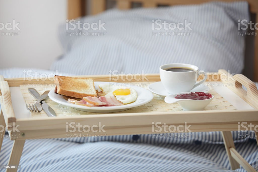 Breakfast on the bed stock photo
