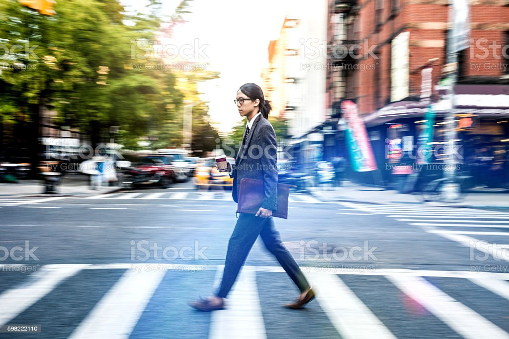 Breakfast on the go in New York stock photo