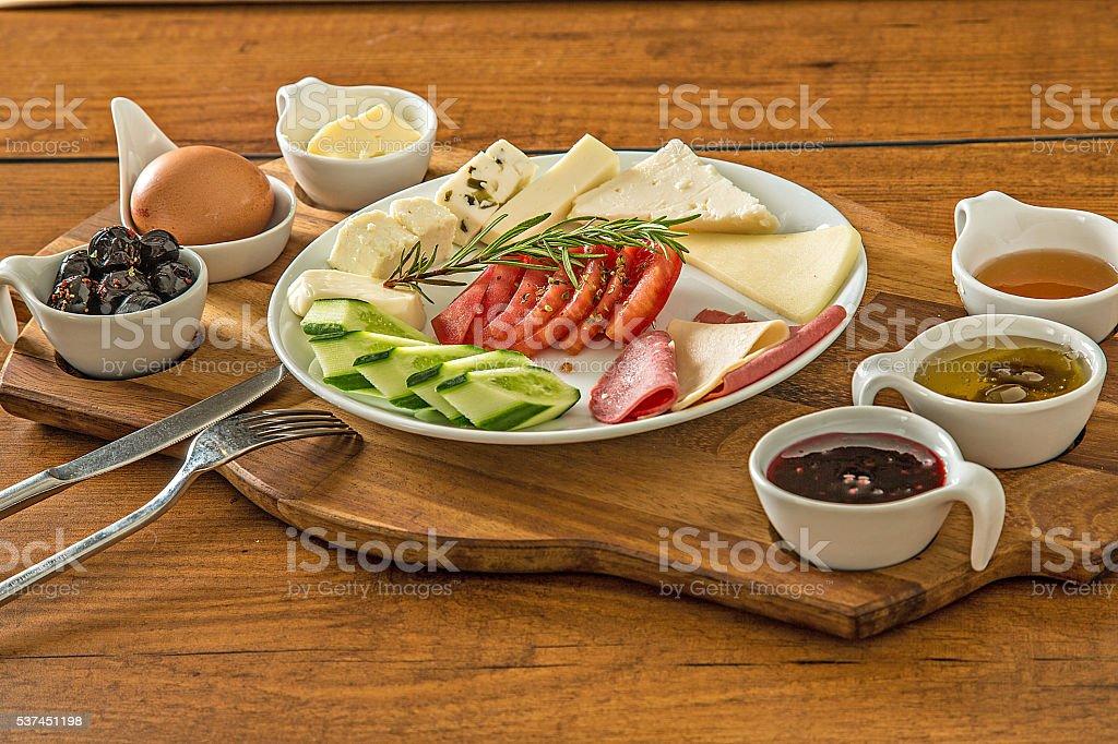 breakfast on wood stock photo
