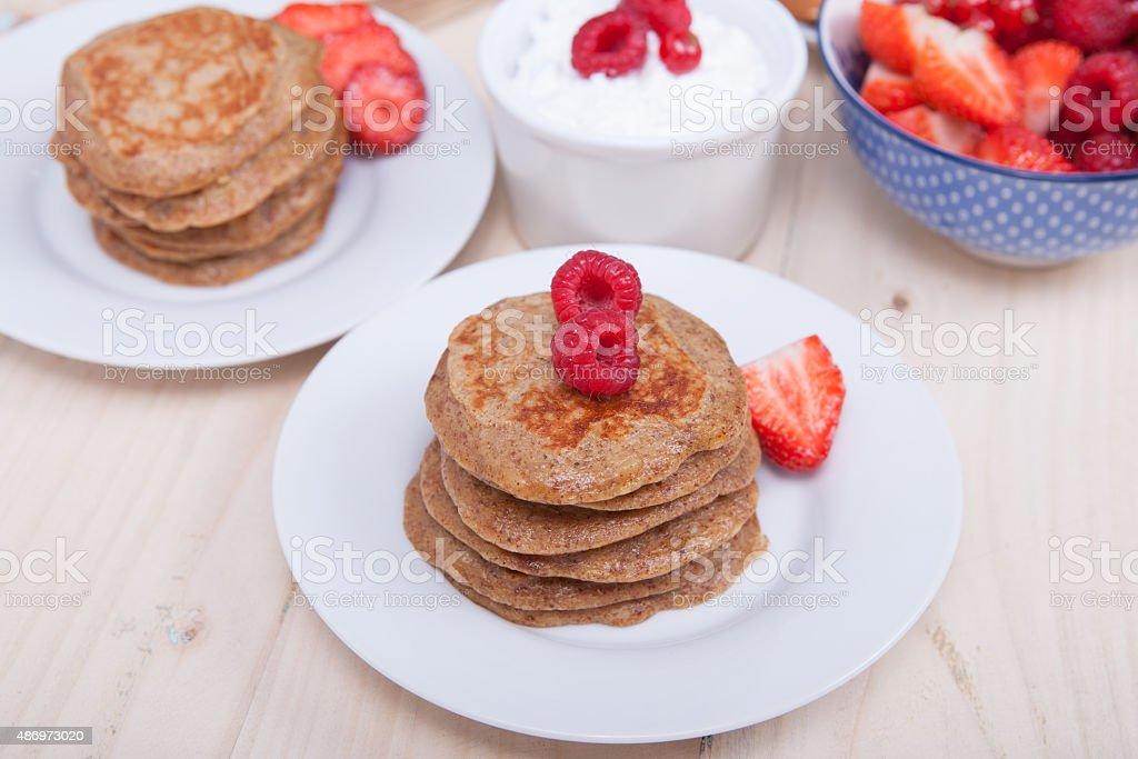 Breakfast: paleo style grain free banana almond pancakes stock photo