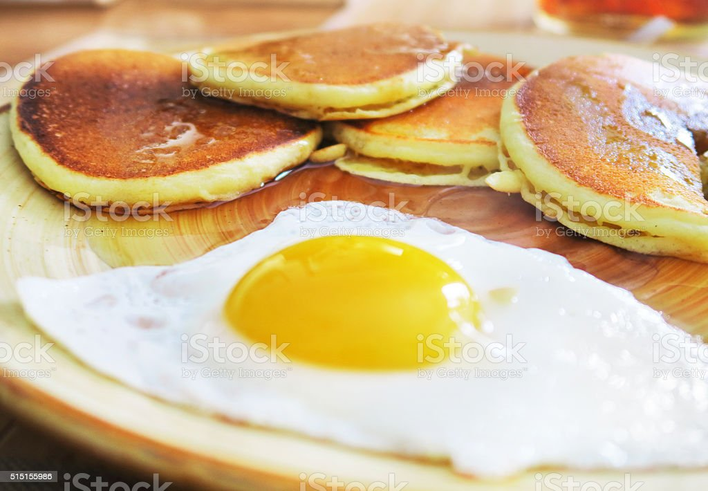 Breakfast Pancakes and Egg stock photo