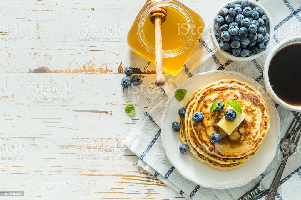 Breakfast - pancakes with blueberries stock photo