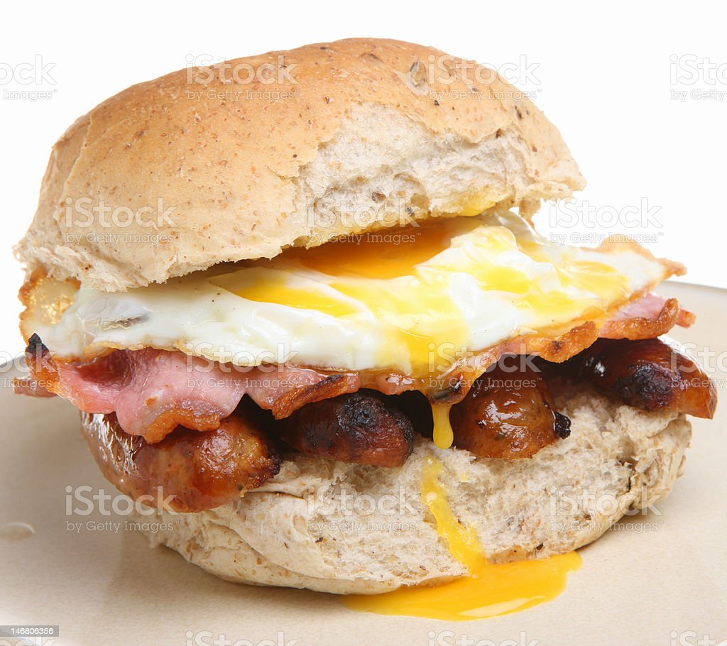 Breakfast Roll with Sausage, Bacon & Egg stock photo