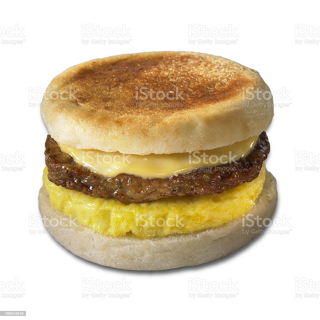 Breakfast sandwich w/ clipping path royalty-free stock photo