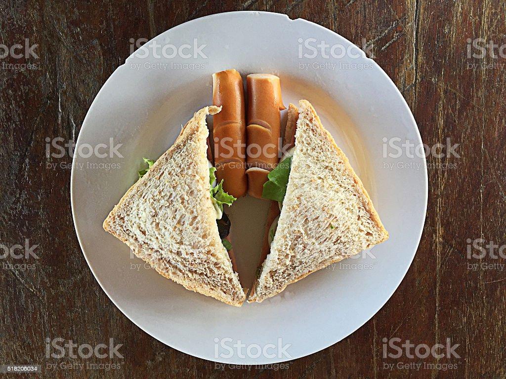 Breakfast sandwiches, sausage. stock photo