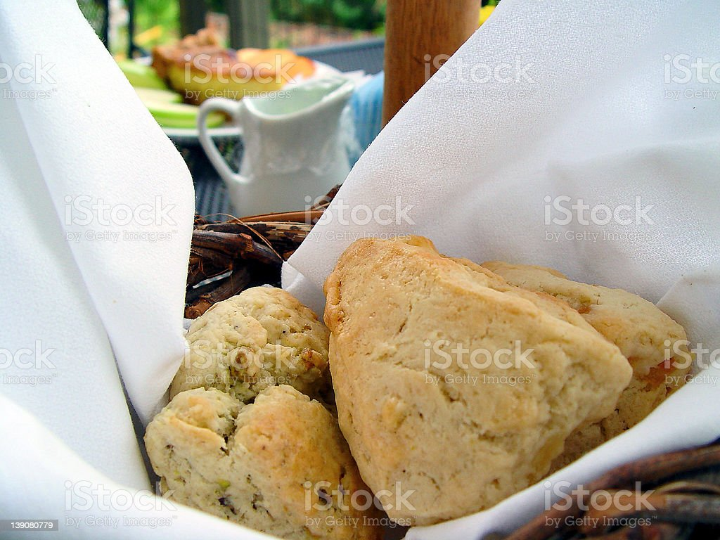 breakfast scones in a basket stock photo