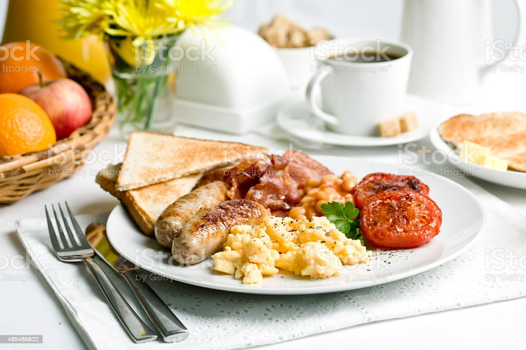Breakfast. Scrambled Eggs stock photo