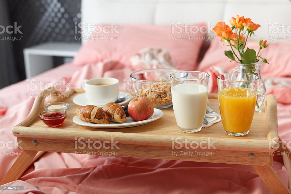 Breakfast served in bed stock photo