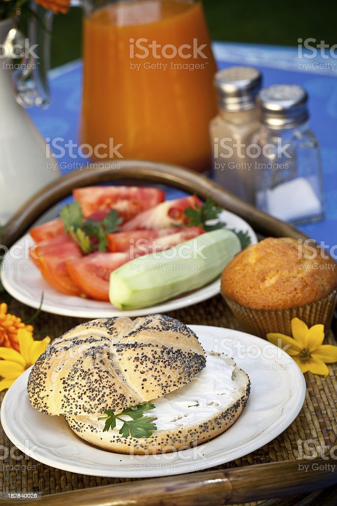 Breakfast served outdoors royalty-free stock photo