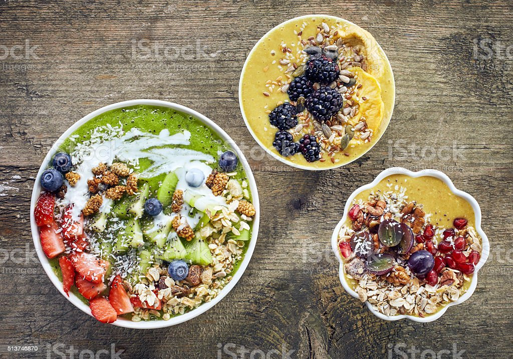 breakfast smoothie bowls stock photo
