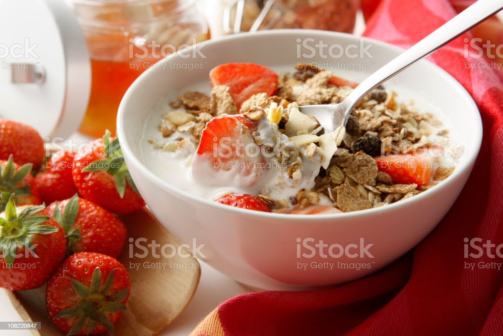 Breakfast Stills: Cereals with Strawberries stock photo