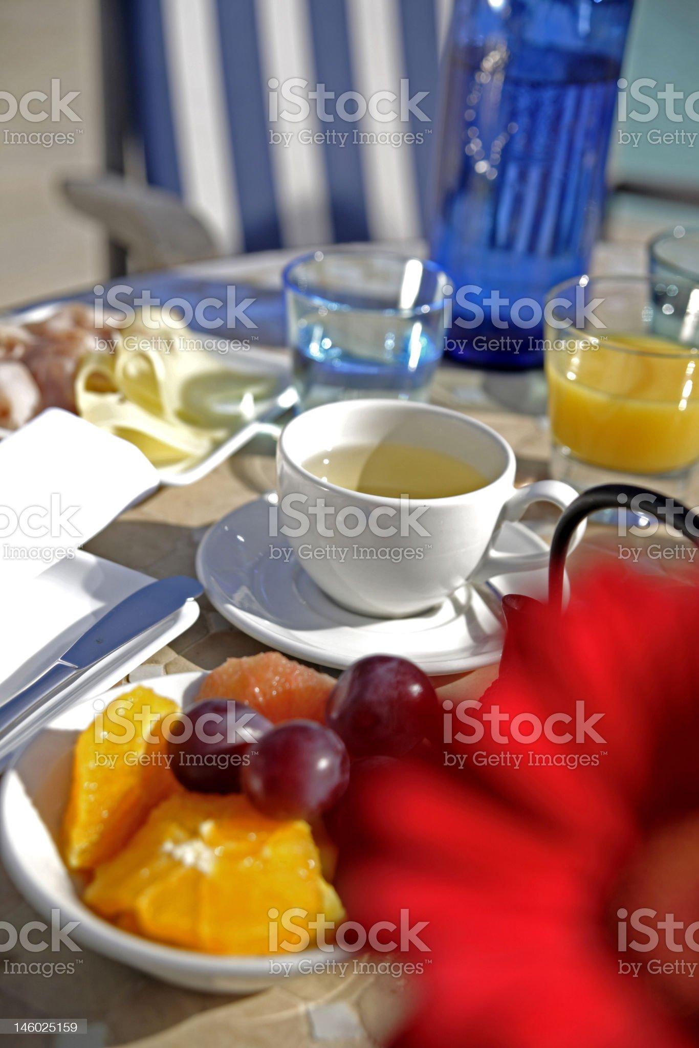 Breakfast table, Mallorca, Spain royalty-free stock photo