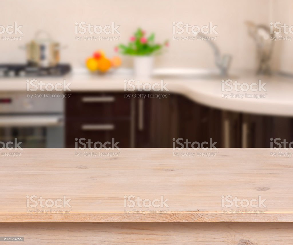Breakfast table on kitchen interior background stock photo