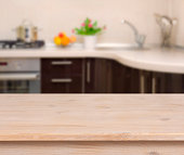 Breakfast table on kitchen interior background