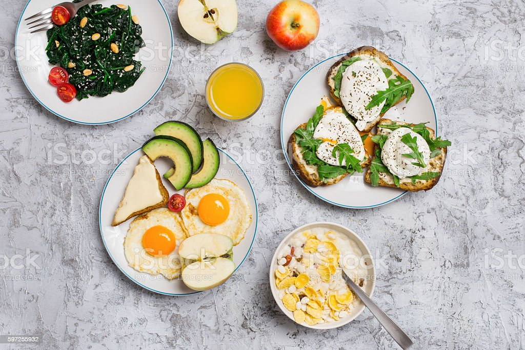 Breakfast table with different healthy food stock photo
