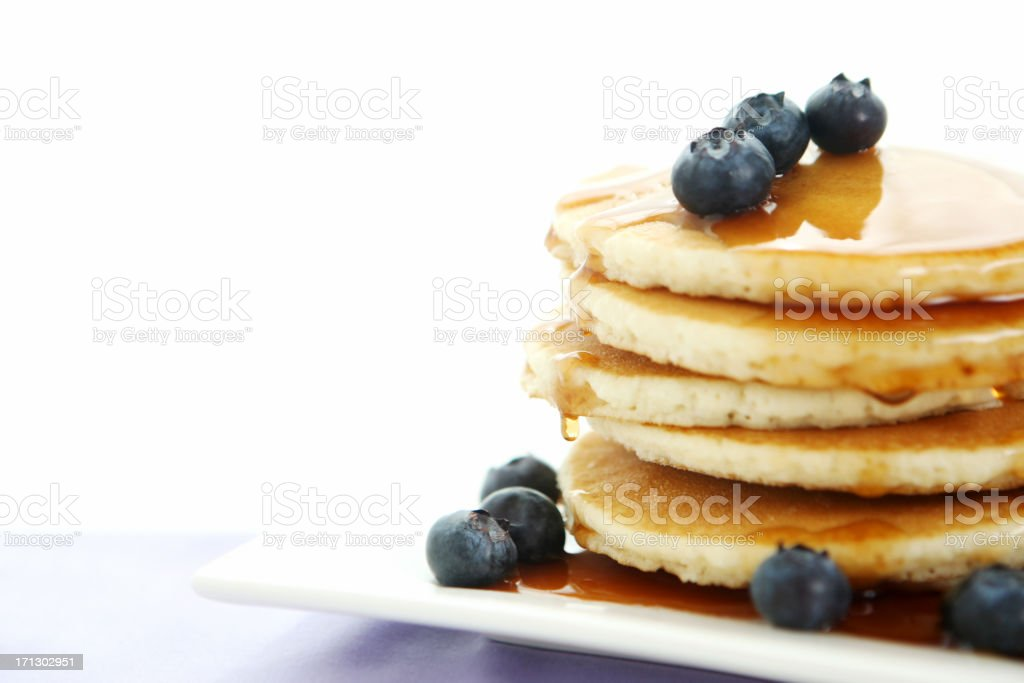 breakfast table with pancakes stock photo