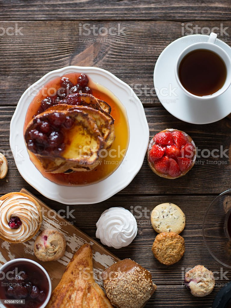 Breakfast table with pastries stock photo