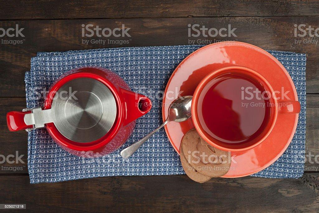 Breakfast tea composition. stock photo