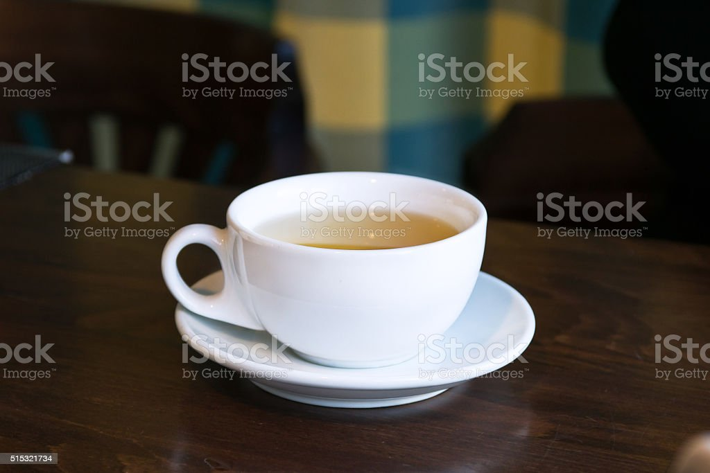 Breakfast tea in a cafe.Cup on a table stock photo