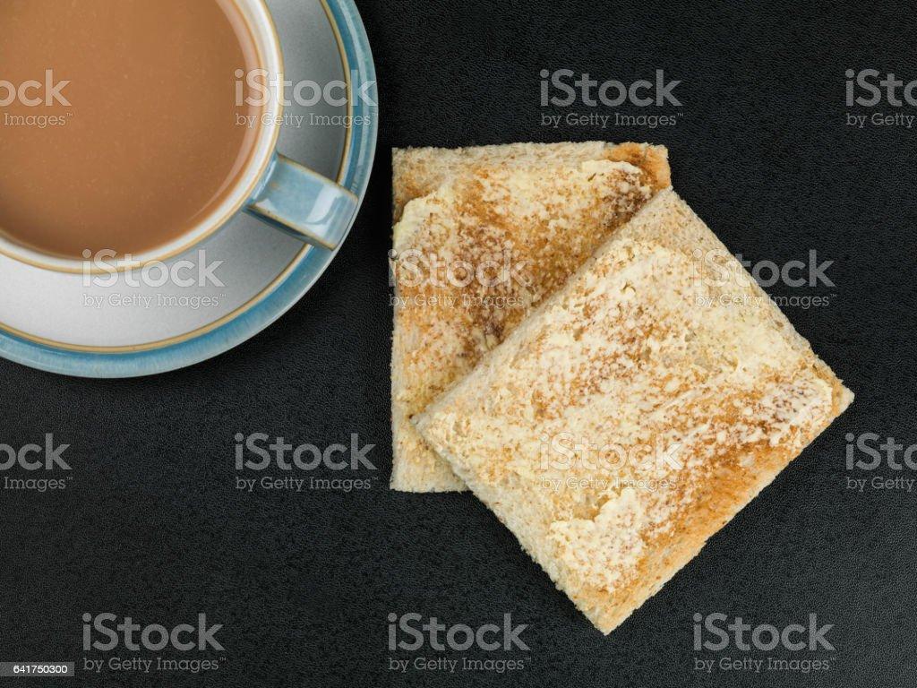Breakfast Tea or Coffee With Toast stock photo