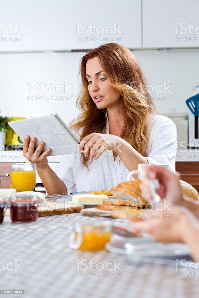 Breakfast technology stock photo