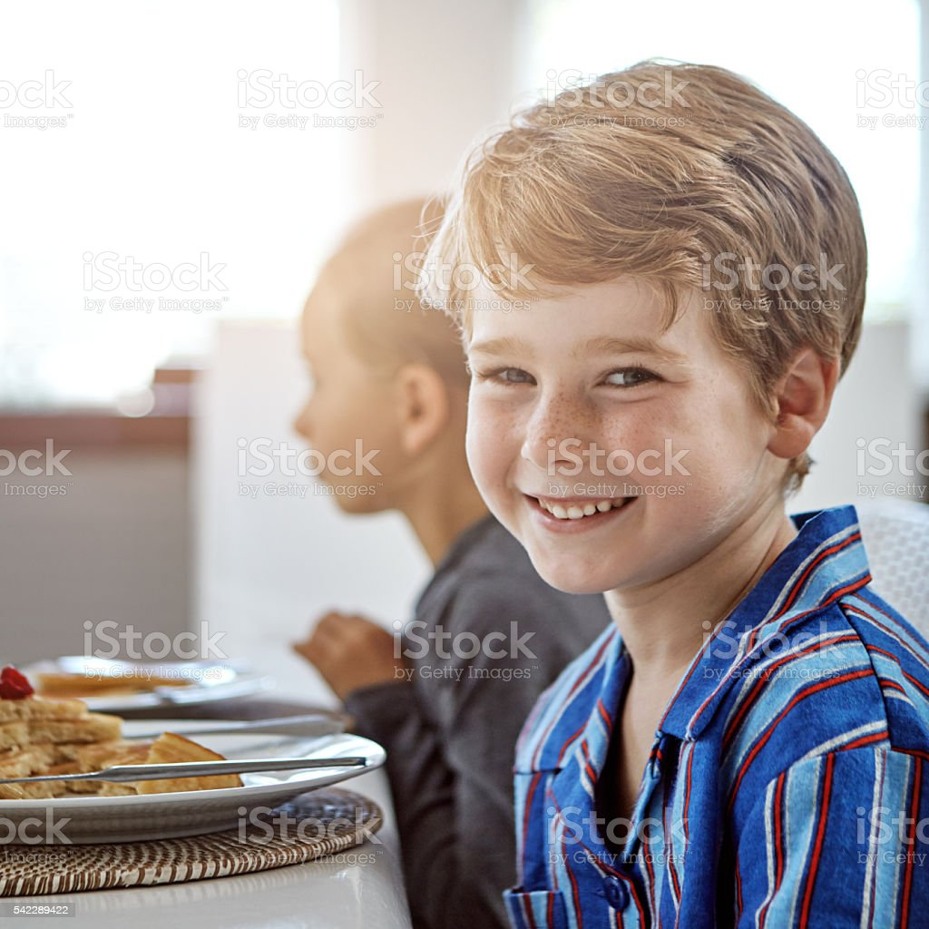 Breakfast time is happy time! stock photo