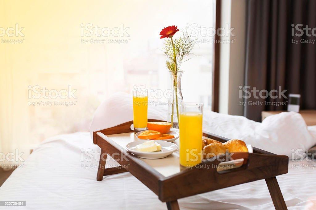 Breakfast Tray On Bed stock photo