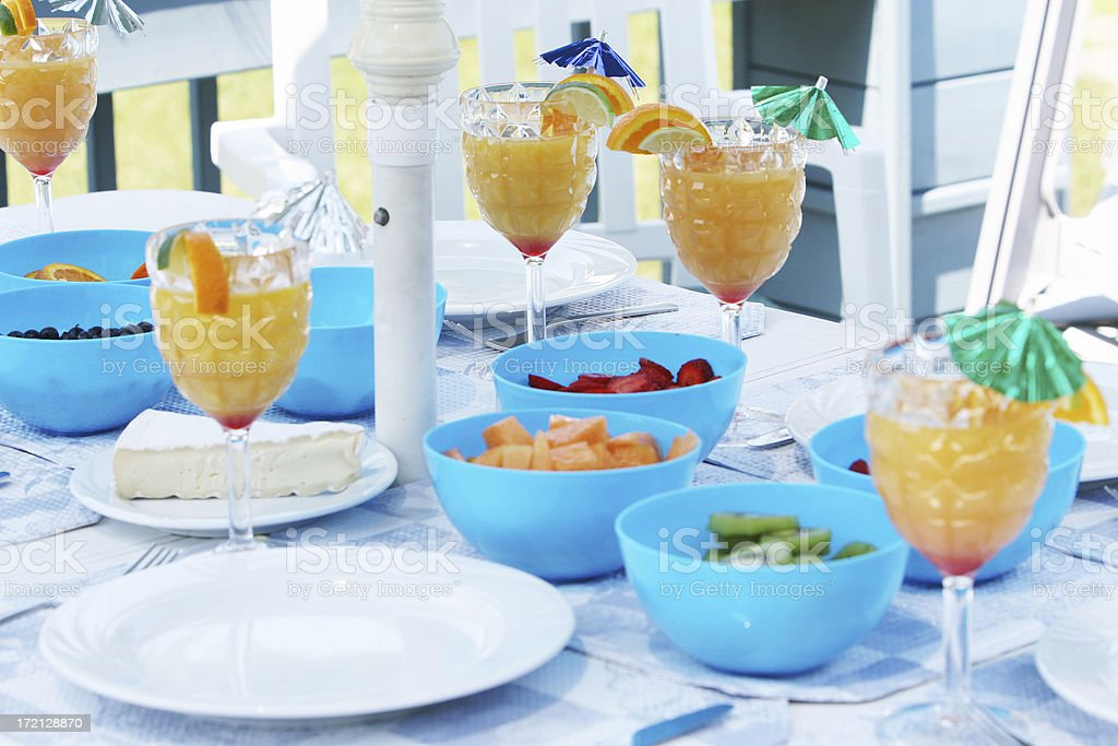 Breakfast under the sunshade royalty-free stock photo