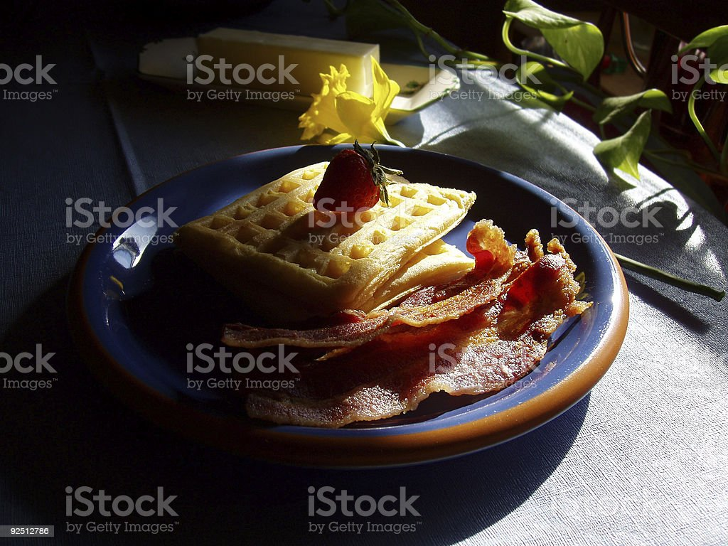 Breakfast - Waffles and Bacon stock photo