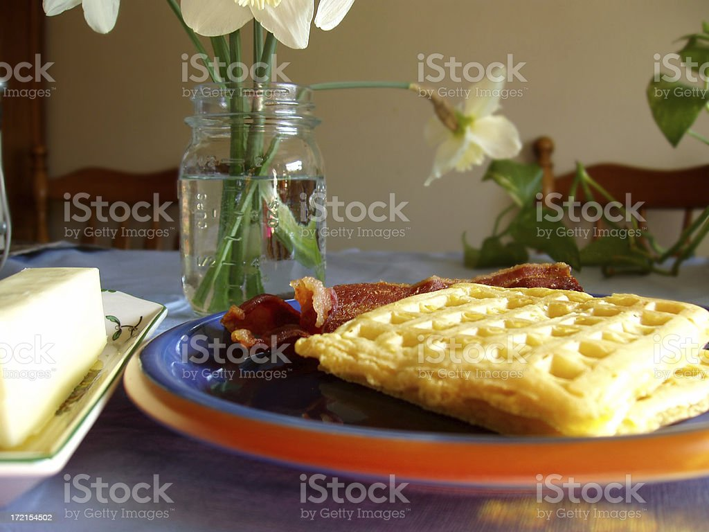 Breakfast - Waffles, Butter and Bacon stock photo