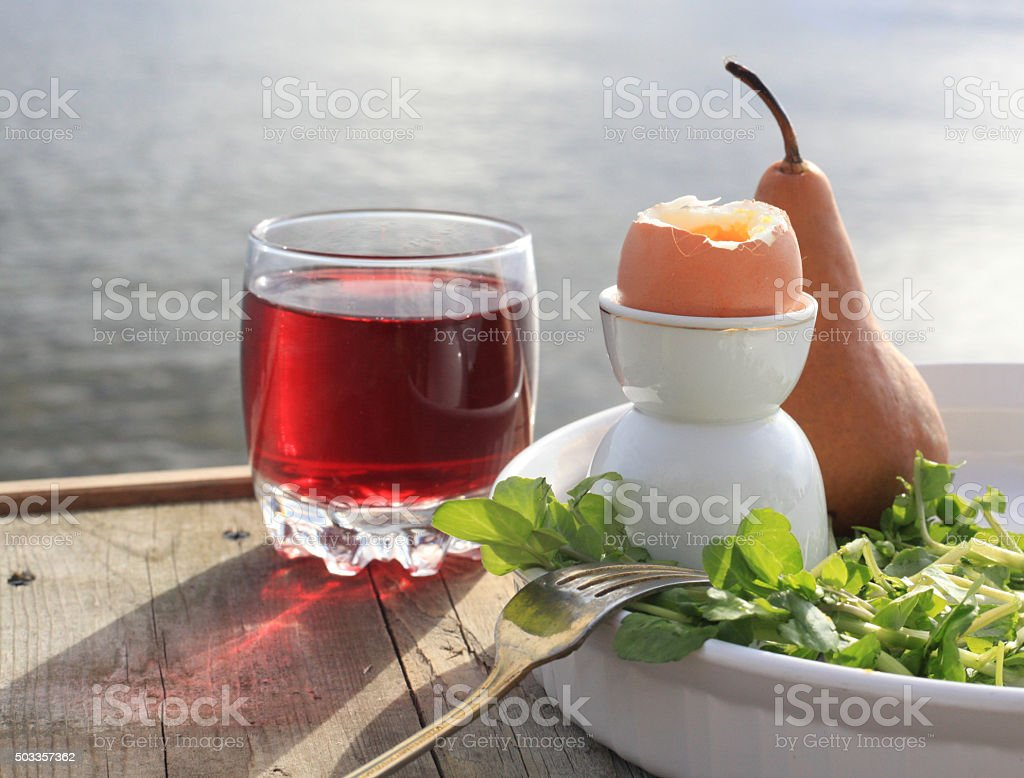 breakfast, watercress, egg, pear and juice stock photo