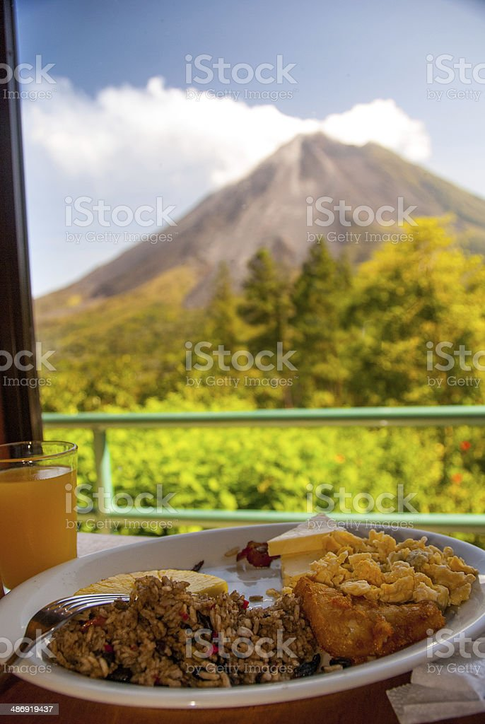 Breakfast with a View in Costa Rica stock photo