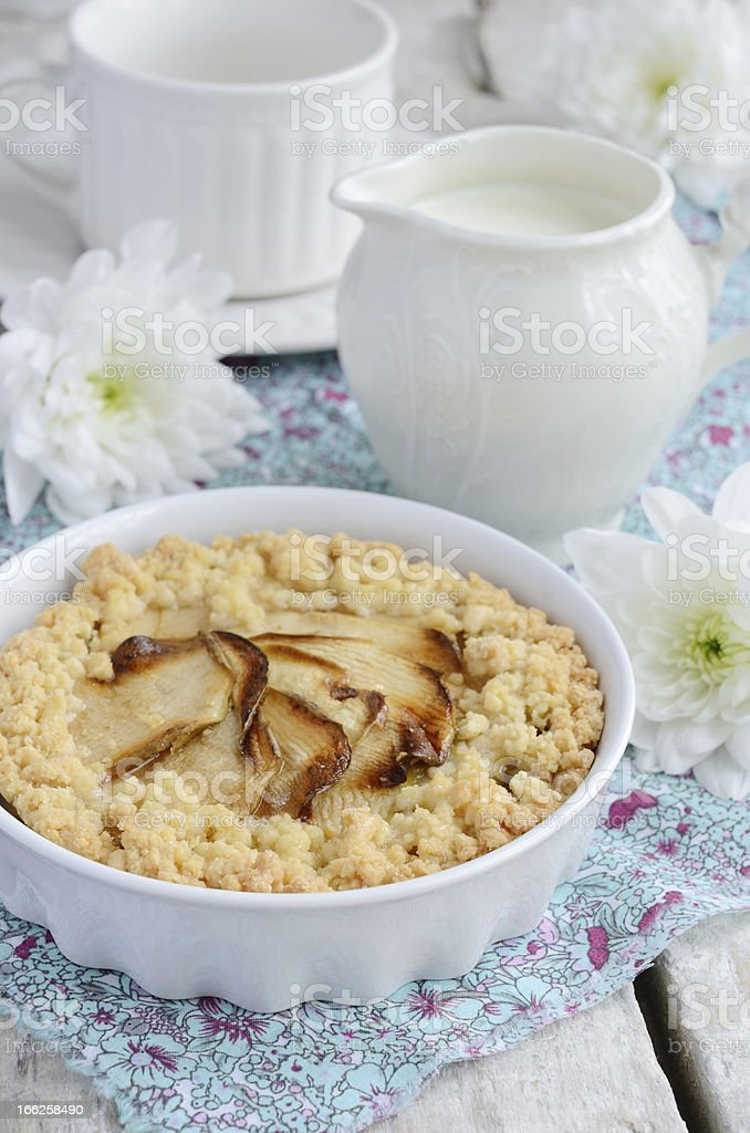 Breakfast with apple pie and flowers royalty-free stock photo