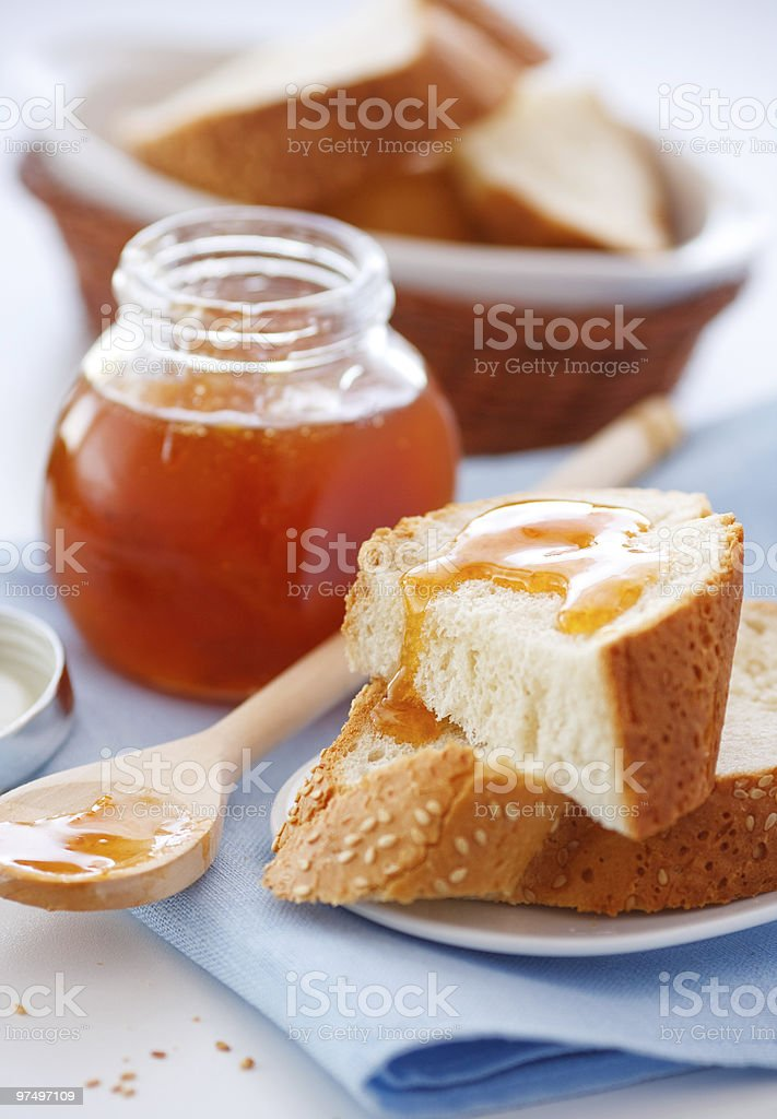 Breakfast with apricot jam royalty-free stock photo