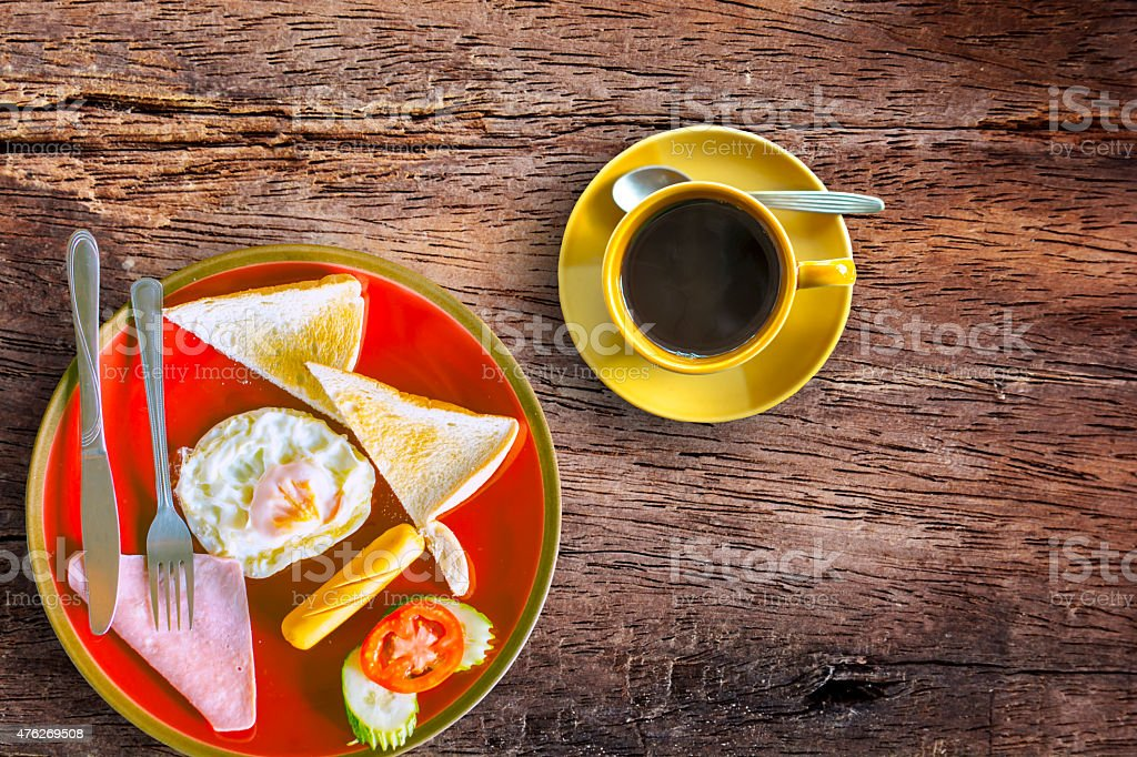Breakfast with black coffee royalty-free stock photo