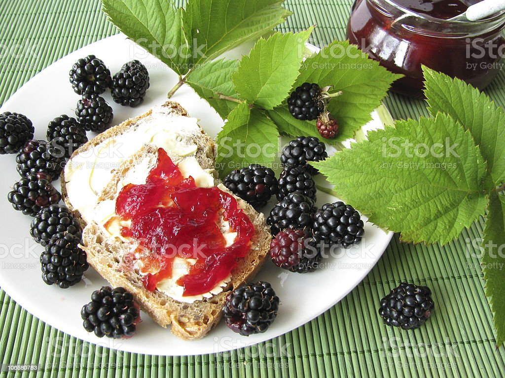 Breakfast with blackberries and blackberry jelly stock photo